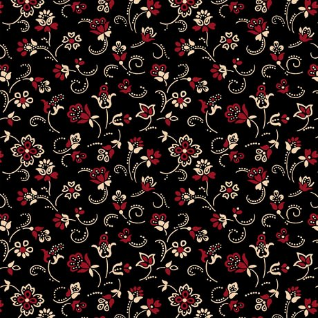 Black Fabric by the yard Floral Civil War 24851 J Farmhouse Decor