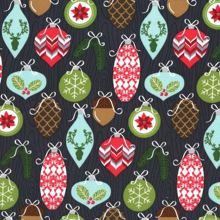 Michael Miller Winter Tails Christmas Quilt Fabric by the yard DC7981 Char Cotton Sewing Quilts Fabrics Rustic Home Woodland Decor Quilting