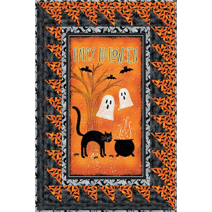 Halloween Fabric Spooky Vibes Quilt Kit by Wilmington Quilts Cotton Black  Halloween Decor Wall hanging